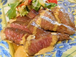 富山ランチブログ隊 きせつ料理 なるみ  和食屋さんの和牛ステーキ御膳 UP