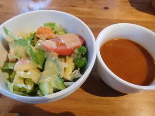 富山ランチブログ隊 「森の茶屋 糧」 前菜 フレッシュサラダ+粗挽き野菜スープ