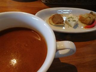 富山ランチブログ隊 「盛りの茶屋 糧」 前菜、小さな野菜 3種盛り+粗挽き野菜スープ