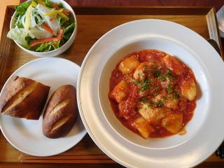 富山ランチブログ隊 洋食食堂 トロワ ジャガイモのニョッキ アラビアータ風 セット