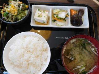 富山ランチブログ隊 けやき 特上ランチのご飯+味噌汁+サラダ+キムチorお新香