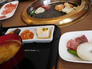 富山ランチブログ隊 けやき 特上ランチ 網焼き 味噌汁 煮物+キムチ+豆腐 3種