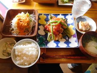 富山ランチブログ隊 かもめのジョナコ 日替わり定食 メイン 鶏肉 トマトソース