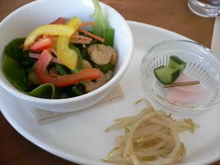 富山ランチブログ隊 nogi (ノギ)魚主菜 海老と小松菜の小鉢盛り付け