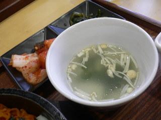富山ランチブログ隊]どんたく食堂 スッカラ 定食(スープ+キムチ漬物)