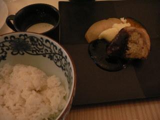 富山ランチブログ隊 ボンジュール  SAKATA BONJOUR ランチ メイン 肉とスープ+御飯